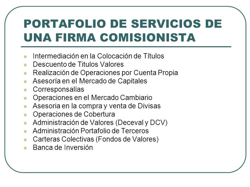 PORTAFOLIO DE SERVICIOS DE UNA FIRMA COMISIONISTA