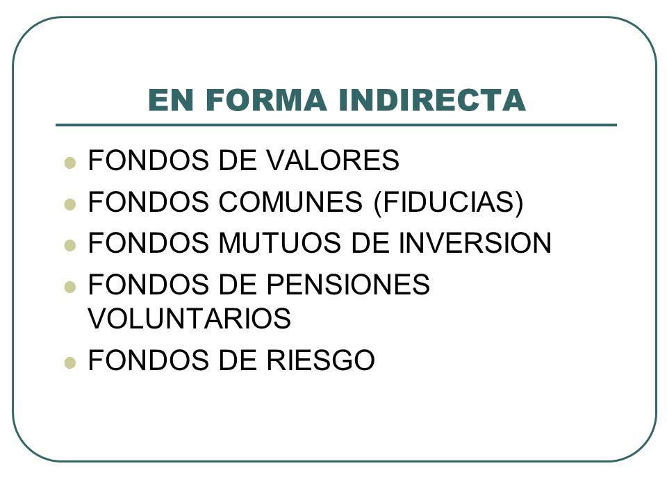 EN FORMA INDIRECTA FONDOS DE VALORES FONDOS COMUNES (FIDUCIAS)