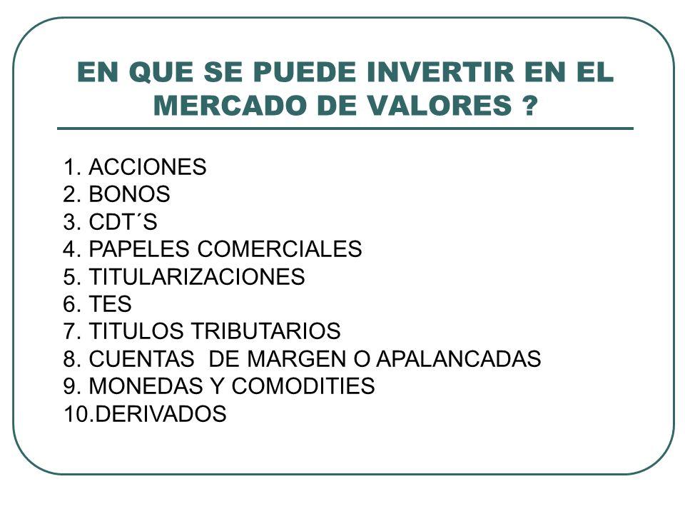 EN QUE SE PUEDE INVERTIR EN EL MERCADO DE VALORES
