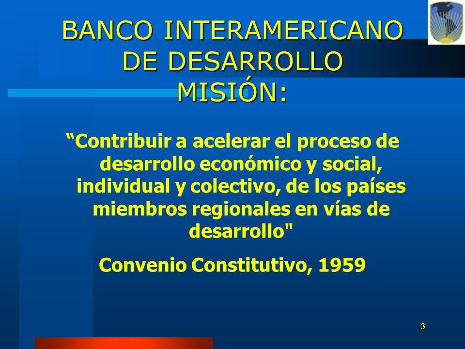 BANCO INTERAMERICANO DE DESARROLLO MISIÓN: