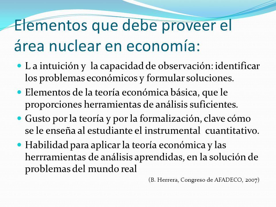 Elementos que debe proveer el área nuclear en economía: