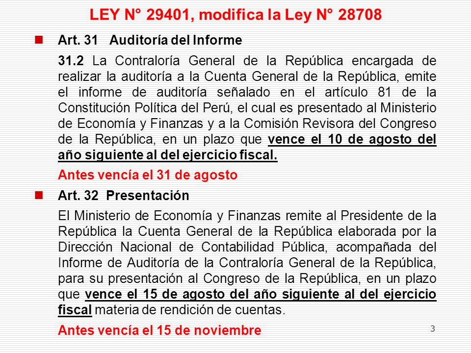 LEY N° 29401, modifica la Ley N° 28708