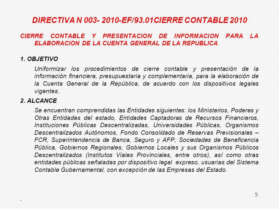 DIRECTIVA N 003- 2010-EF/93.01CIERRE CONTABLE 2010