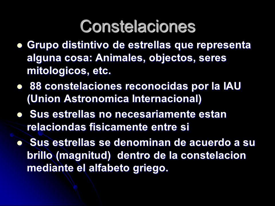 ConstelacionesGrupo distintivo de estrellas que representa alguna cosa: Animales, objectos, seres mitologicos, etc.