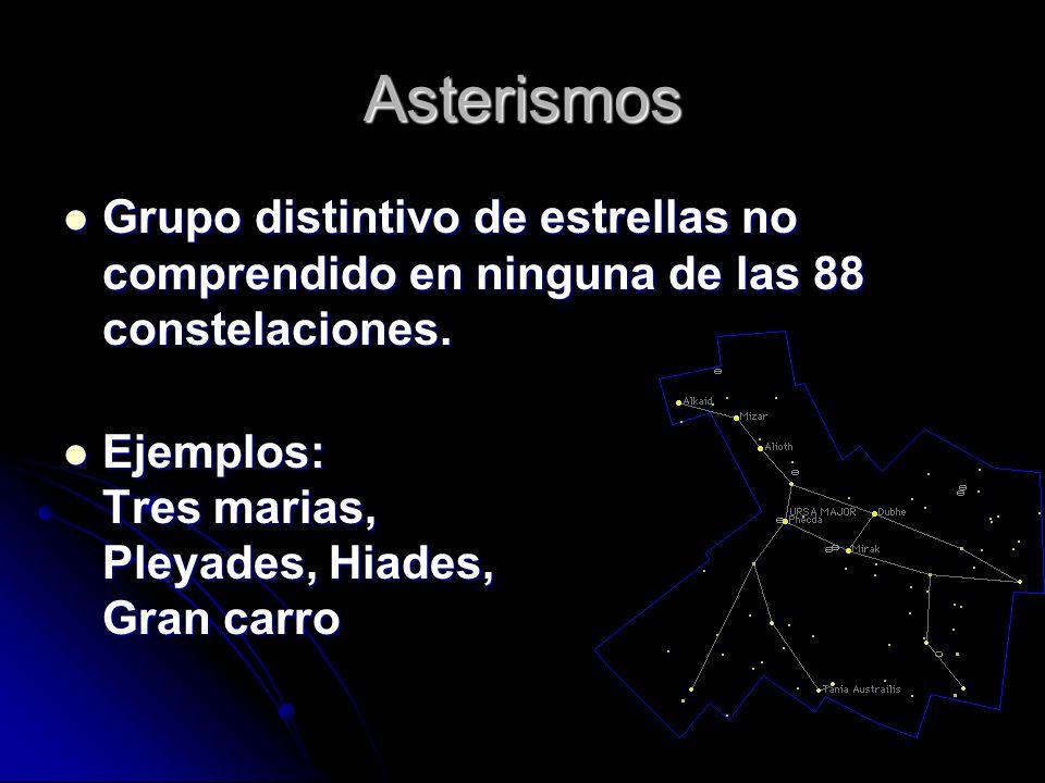 Asterismos Grupo distintivo de estrellas no comprendido en ninguna de las 88 constelaciones.