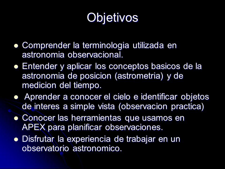 Objetivos Comprender la terminologia utilizada en astronomia observacional.