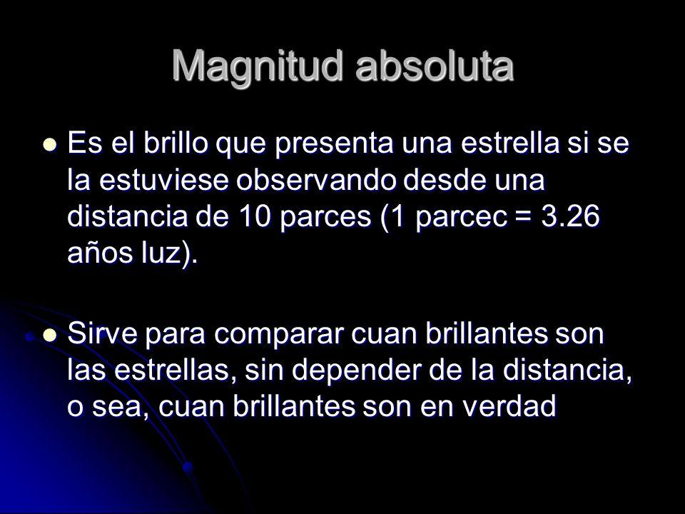 Magnitud absolutaEs el brillo que presenta una estrella si se la estuviese observando desde una distancia de 10 parces (1 parcec = 3.26 años luz).