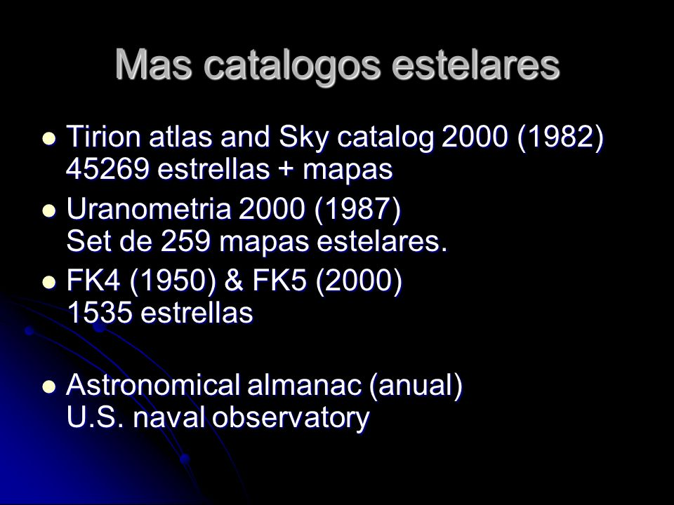 Mas catalogos estelares