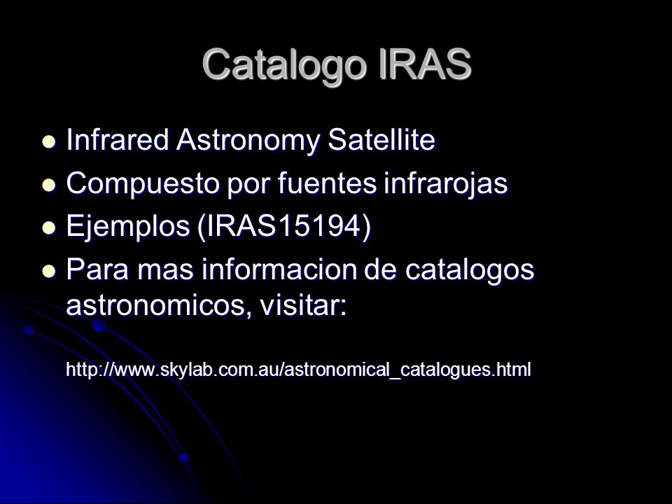 Catalogo IRAS Infrared Astronomy Satellite