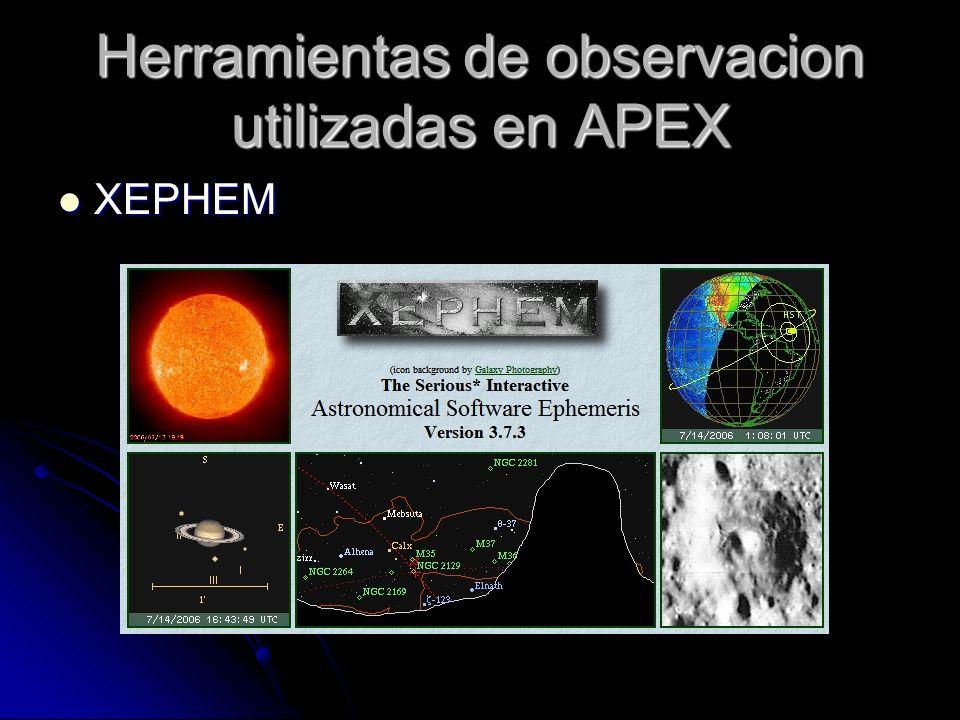 Herramientas de observacion utilizadas en APEX