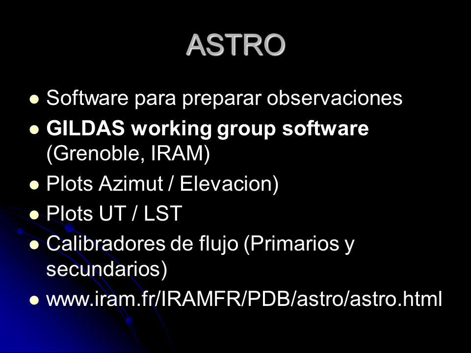 ASTRO Software para preparar observaciones