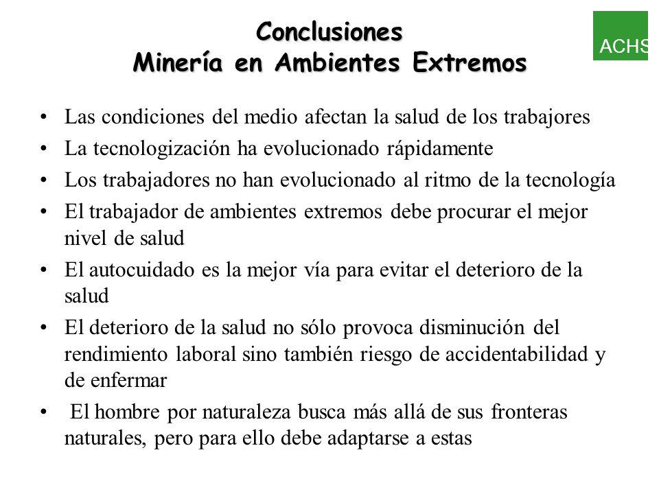 Conclusiones Minería en Ambientes Extremos