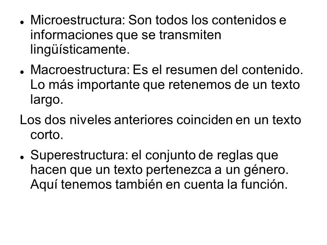 Microestructura: Son todos los contenidos e informaciones que se transmiten lingüísticamente.