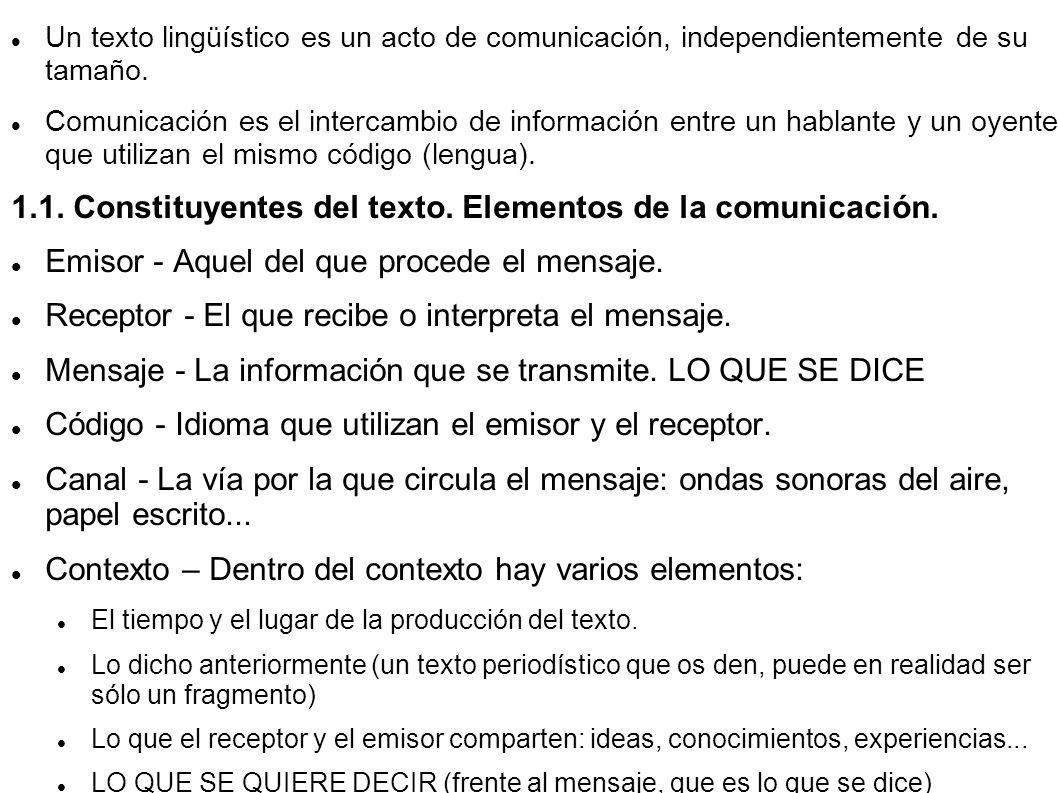 1.1. Constituyentes del texto. Elementos de la comunicación.