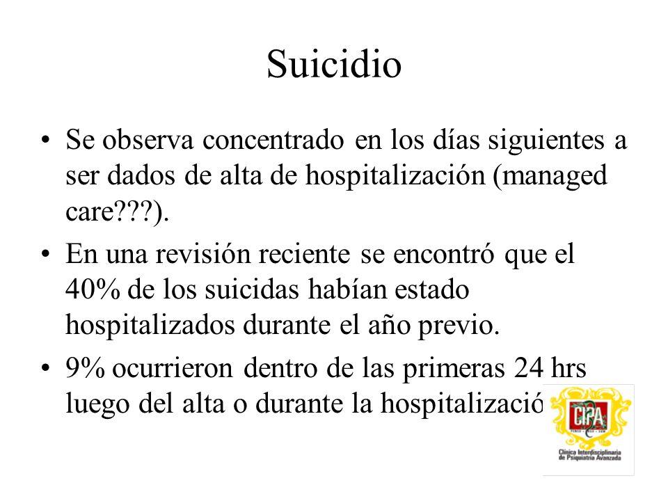 Suicidio Se observa concentrado en los días siguientes a ser dados de alta de hospitalización (managed care ).
