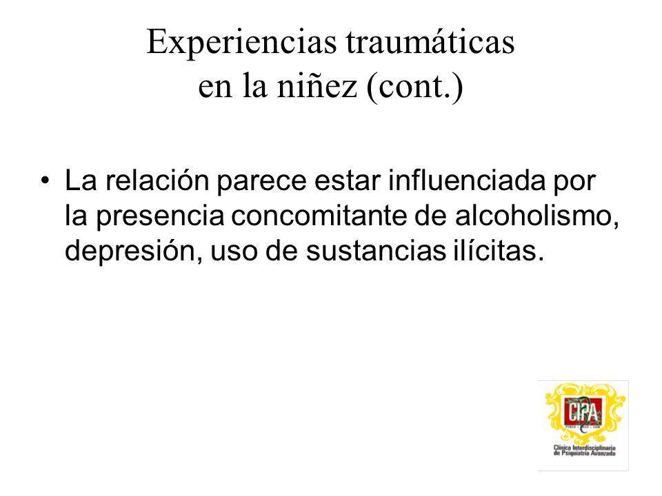 Experiencias traumáticas en la niñez (cont.)