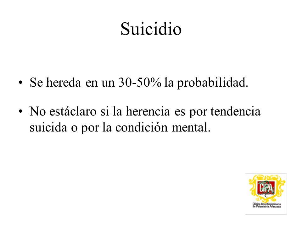 Suicidio Se hereda en un 30-50% la probabilidad.