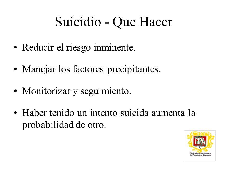 Suicidio - Que Hacer Reducir el riesgo inminente.