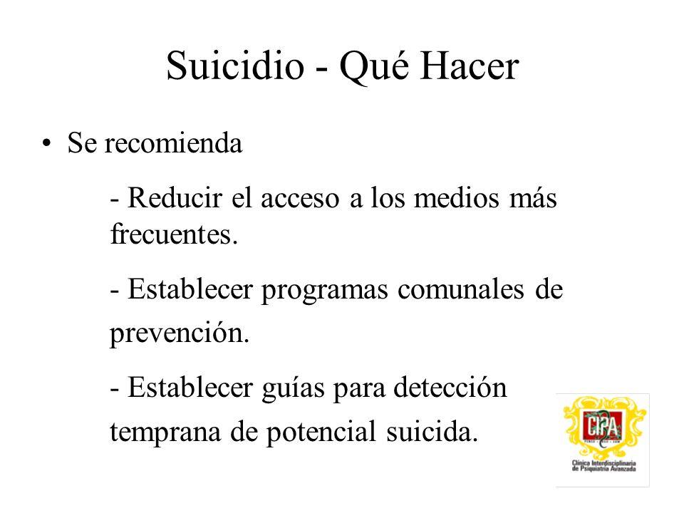 Suicidio - Qué Hacer Se recomienda