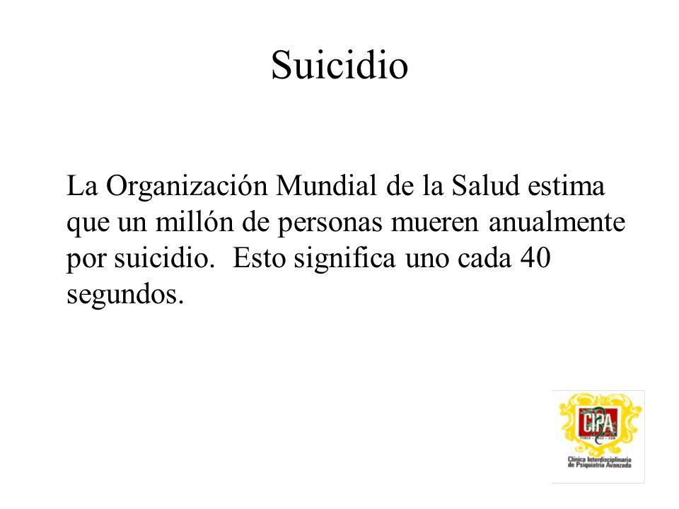 Suicidio La Organización Mundial de la Salud estima que un millón de personas mueren anualmente por suicidio.