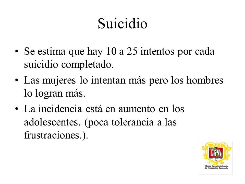 Suicidio Se estima que hay 10 a 25 intentos por cada suicidio completado. Las mujeres lo intentan más pero los hombres lo logran más.