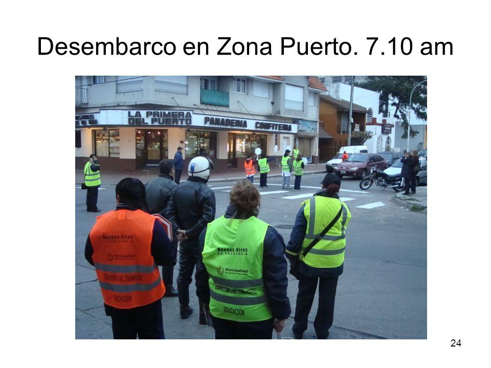 Desembarco en Zona Puerto. 7.10 am