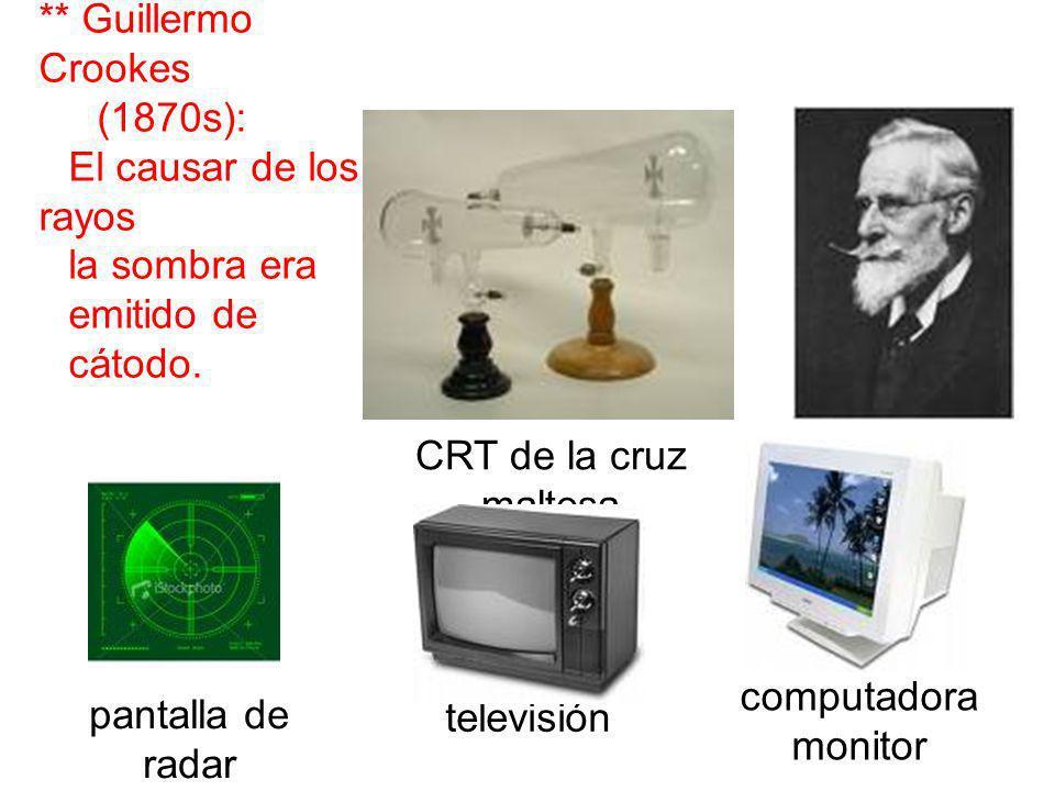 ** Guillermo Crookes CRT de la cruz maltesa computadora monitor