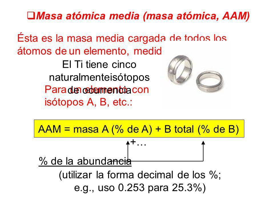 Masa atómica media (masa atómica, AAM)