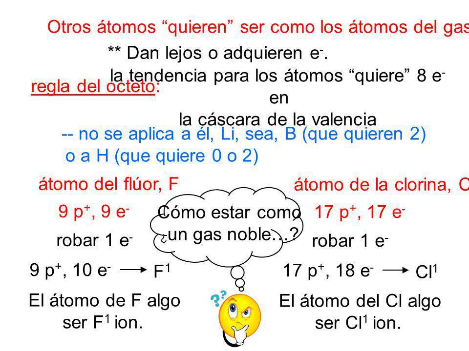 Otros átomos quieren ser como los átomos del gas noble.