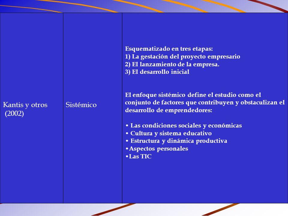 Kantis y otros (2002) Sistémico Esquematizado en tres etapas:
