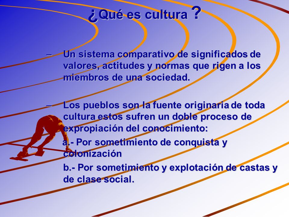 ¿Qué es cultura Un sistema comparativo de significados de valores, actitudes y normas que rigen a los miembros de una sociedad.