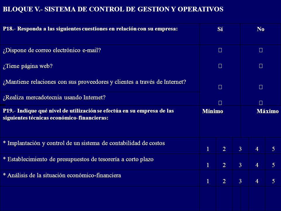 BLOQUE V.- SISTEMA DE CONTROL DE GESTION Y OPERATIVOS