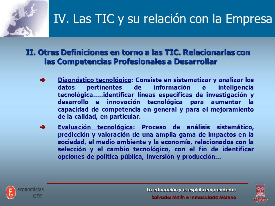 IV. Las TIC y su relación con la Empresa