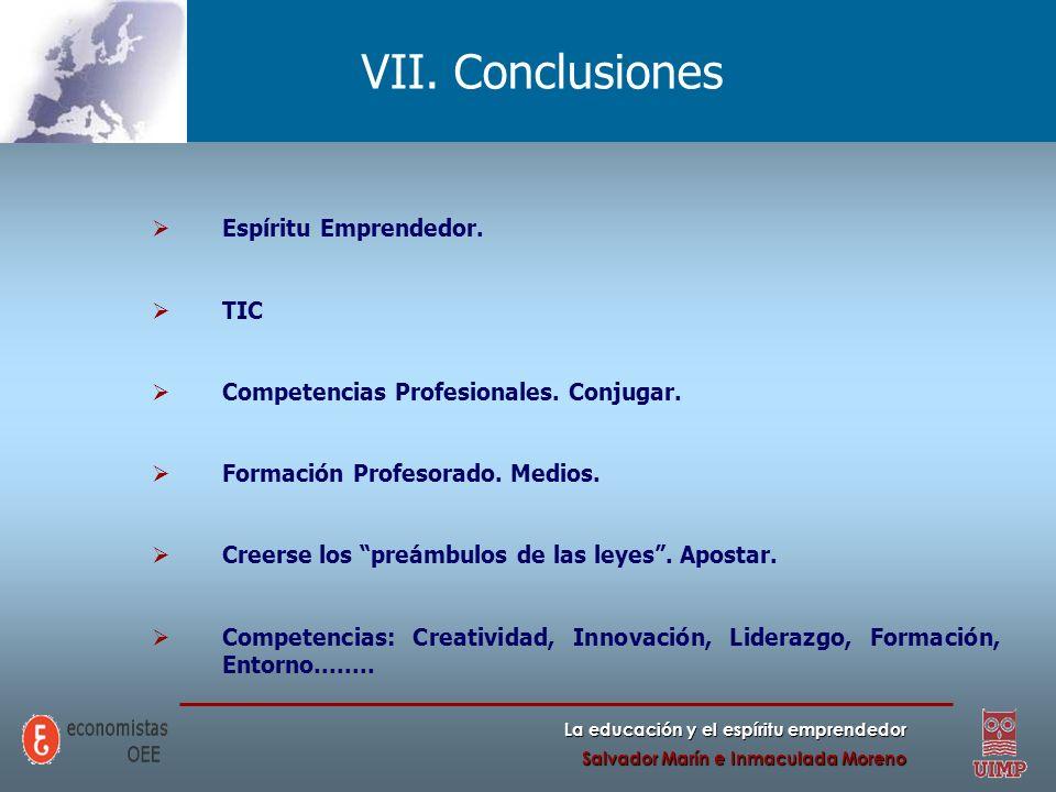 VII. Conclusiones Espíritu Emprendedor. TIC
