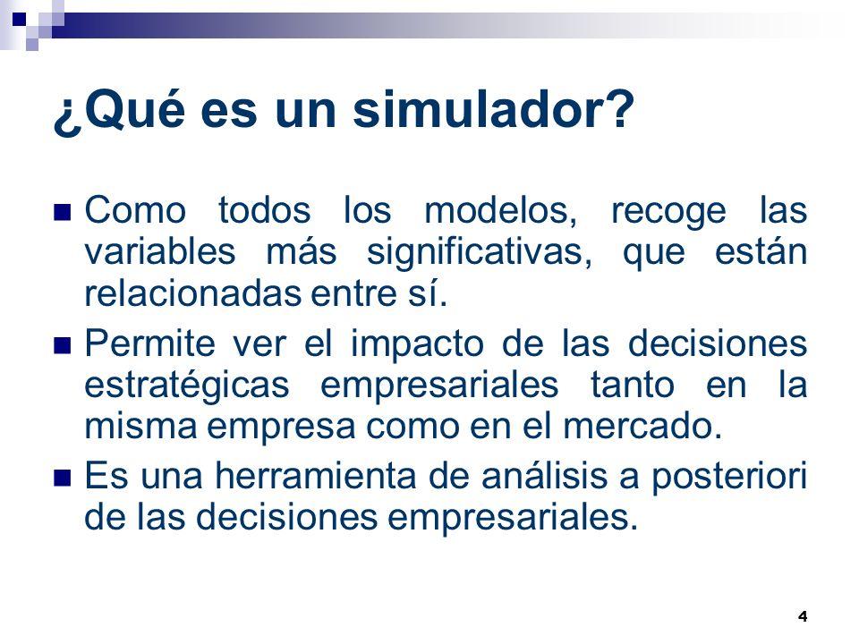 ¿Qué es un simulador Como todos los modelos, recoge las variables más significativas, que están relacionadas entre sí.