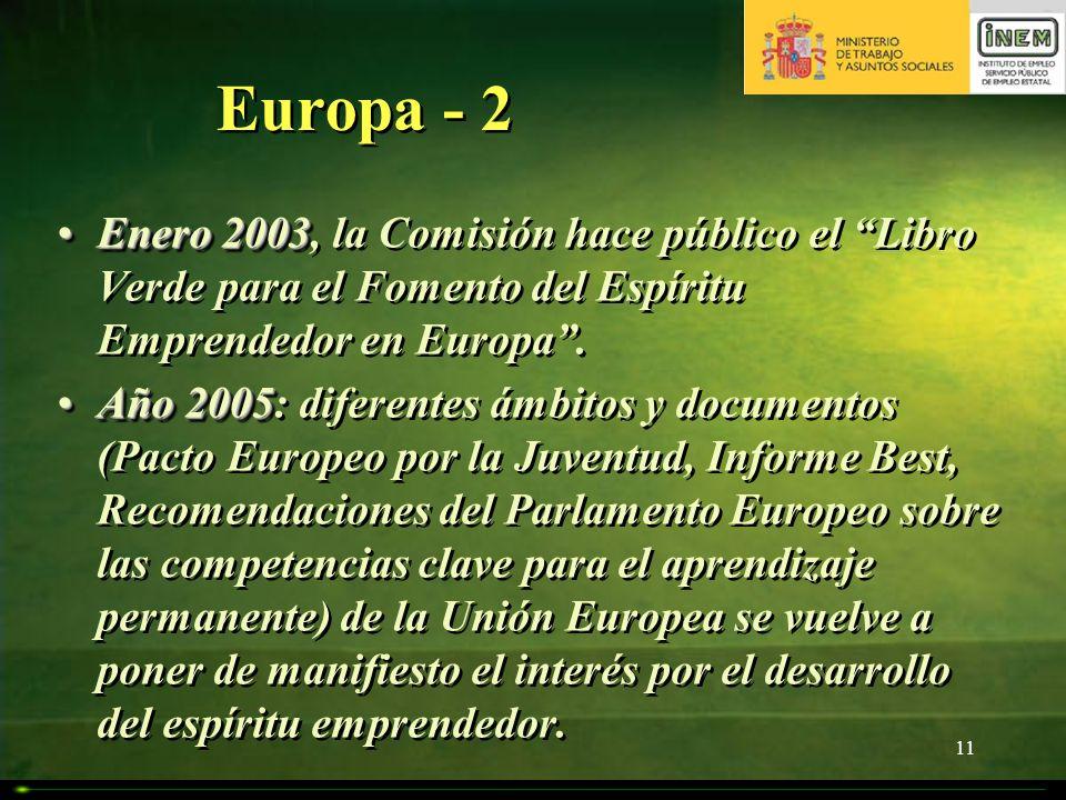 Europa - 2 Enero 2003, la Comisión hace público el Libro Verde para el Fomento del Espíritu Emprendedor en Europa .