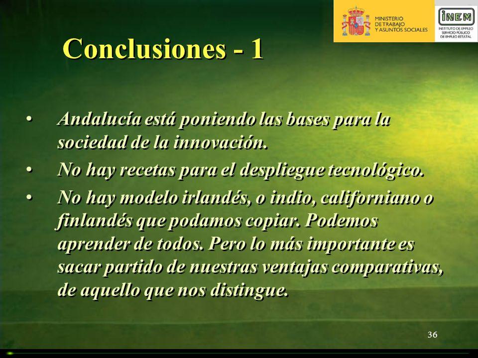 Conclusiones - 1 Andalucía está poniendo las bases para la sociedad de la innovación. No hay recetas para el despliegue tecnológico.