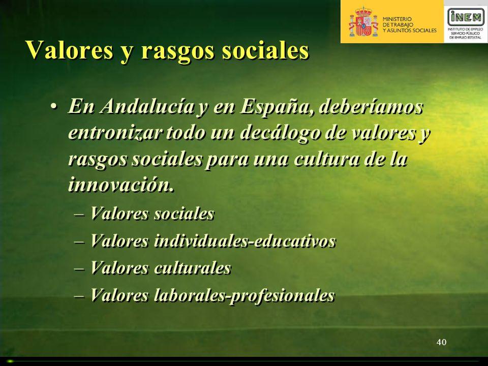 Valores y rasgos sociales