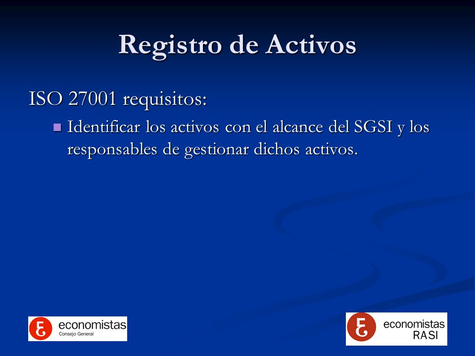 Registro de Activos ISO 27001 requisitos: