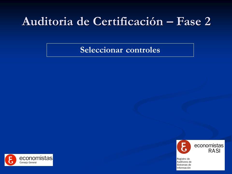 Auditoria de Certificación – Fase 2 Seleccionar controles