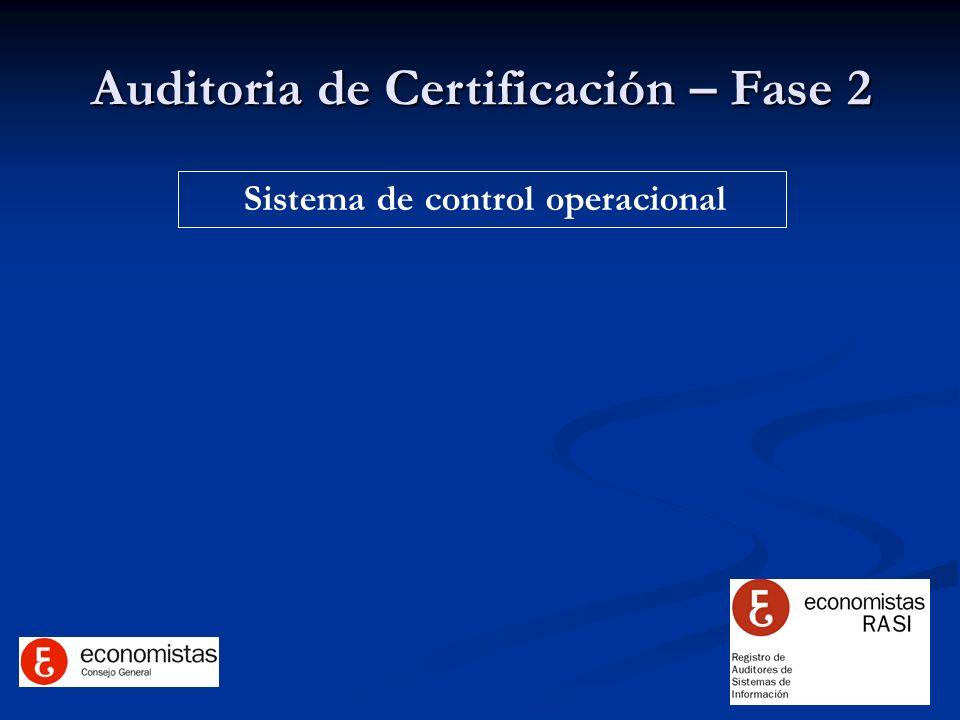 Auditoria de Certificación – Fase 2 Sistema de control operacional