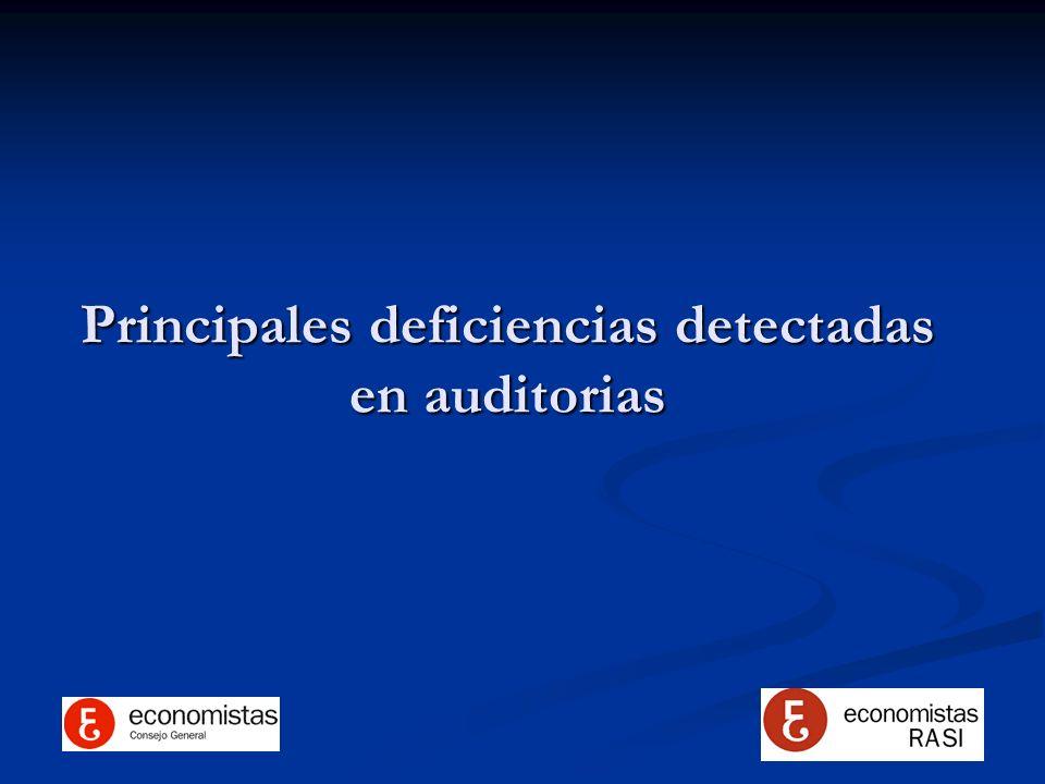 Principales deficiencias detectadas en auditorias