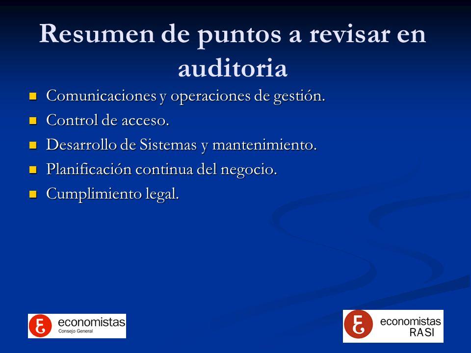 Resumen de puntos a revisar en auditoria
