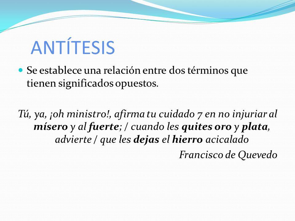 ANTÍTESIS Se establece una relación entre dos términos que tienen significados opuestos.