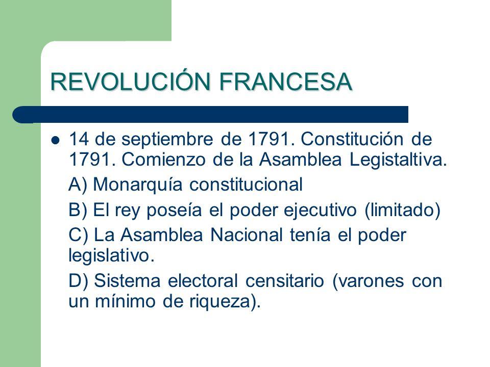 REVOLUCIÓN FRANCESA 14 de septiembre de 1791. Constitución de 1791. Comienzo de la Asamblea Legistaltiva.
