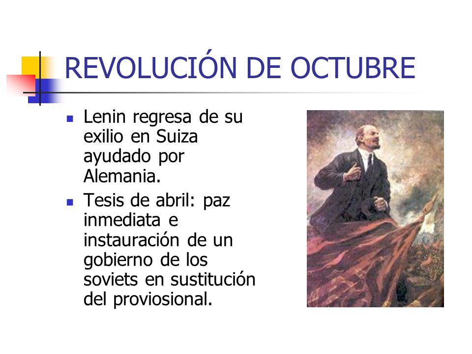 REVOLUCIÓN DE OCTUBRE Lenin regresa de su exilio en Suiza ayudado por Alemania.