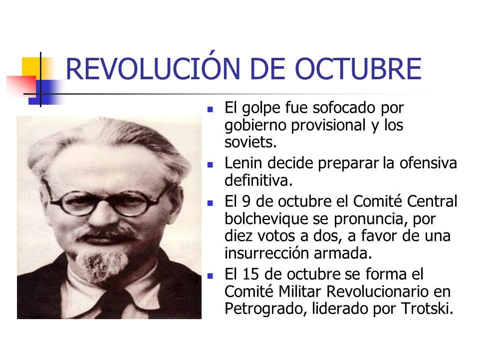 REVOLUCIÓN DE OCTUBRE El golpe fue sofocado por gobierno provisional y los soviets. Lenin decide preparar la ofensiva definitiva.