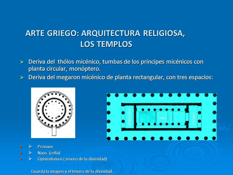ARTE GRIEGO: ARQUITECTURA RELIGIOSA, LOS TEMPLOS