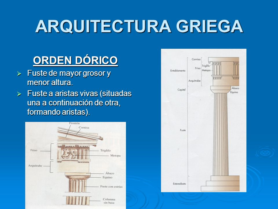 ARQUITECTURA GRIEGA ORDEN DÓRICO Fuste de mayor grosor y menor altura.