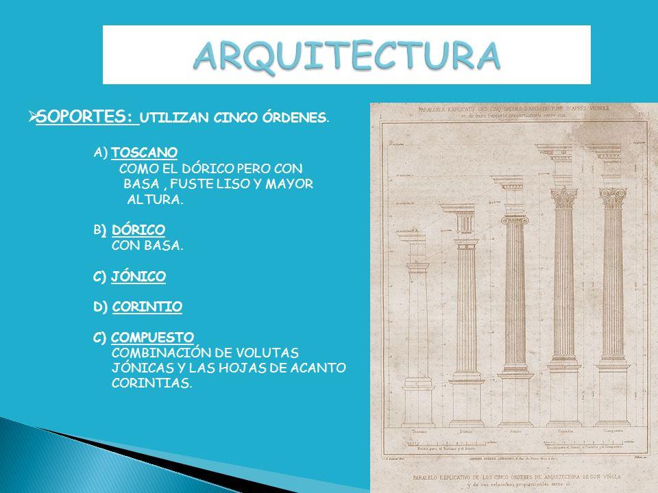 ARQUITECTURA SOPORTES: UTILIZAN CINCO ÓRDENES. A) TOSCANO